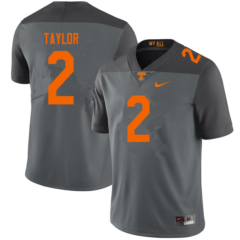 Men #2 Alontae Taylor Tennessee Volunteers College Football Jerseys Sale-Gray