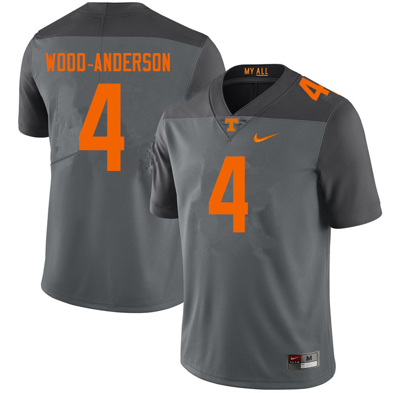 Men #4 Dominick Wood-Anderson Tennessee Volunteers College Football Jerseys Sale-Gray