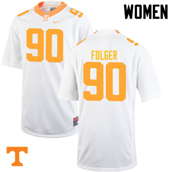 Women #90 Charles Folger Tennessee Volunteers College Football Jerseys-White