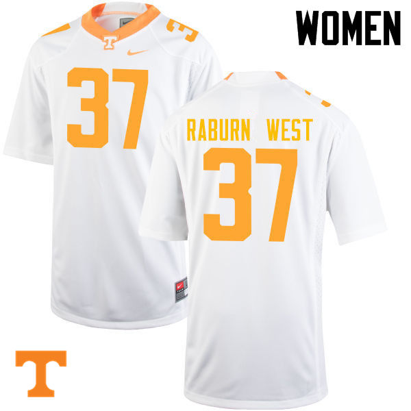 Women #37 Charles Raburn West Tennessee Volunteers College Football Jerseys-White