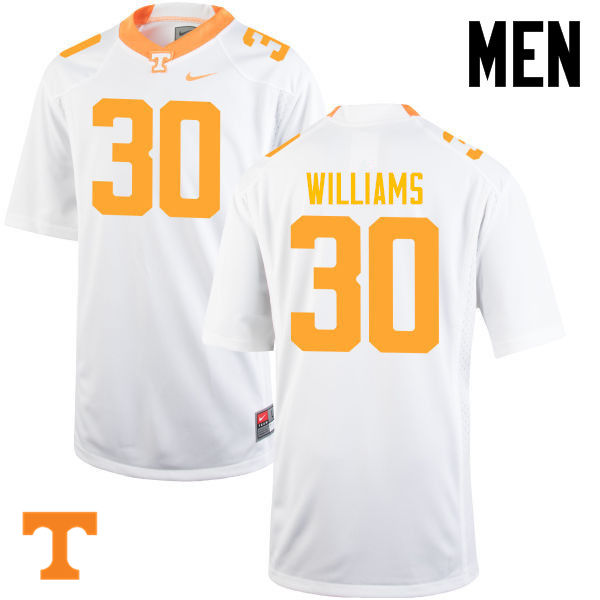 Men #30 Devin Williams Tennessee Volunteers College Football Jerseys-White