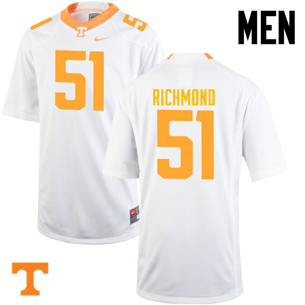 Men #51 Drew Richmond Tennessee Volunteers College Football Jerseys-White