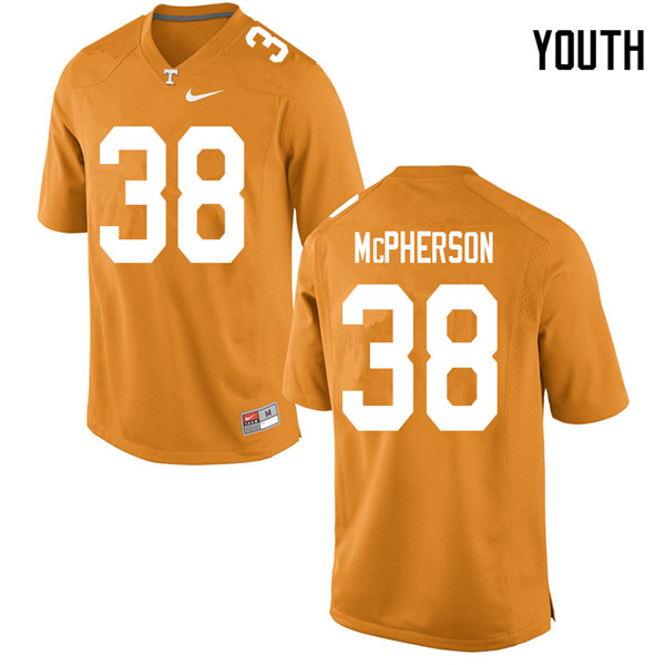 Youth #38 Brent McPherson Tennessee Volunteers College Football Jerseys Sale-Orange