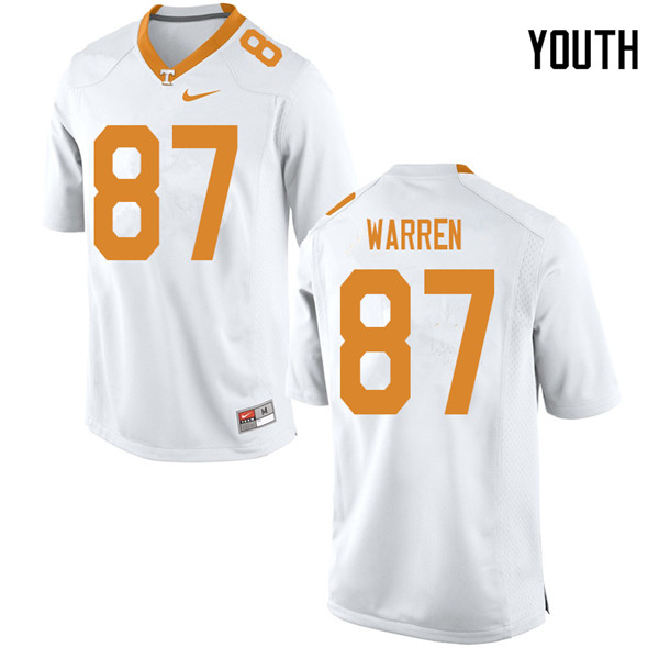 Youth #87 Jacob Warren Tennessee Volunteers College Football Jerseys Sale-White