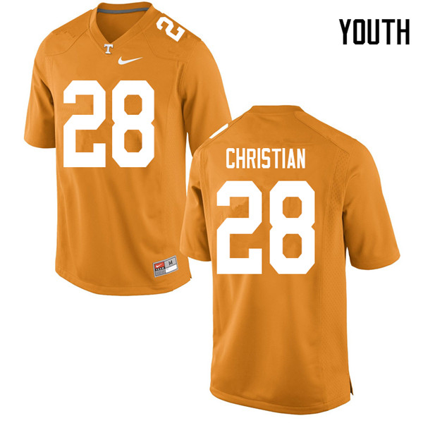 Youth #28 James Christian Tennessee Volunteers College Football Jerseys Sale-Orange