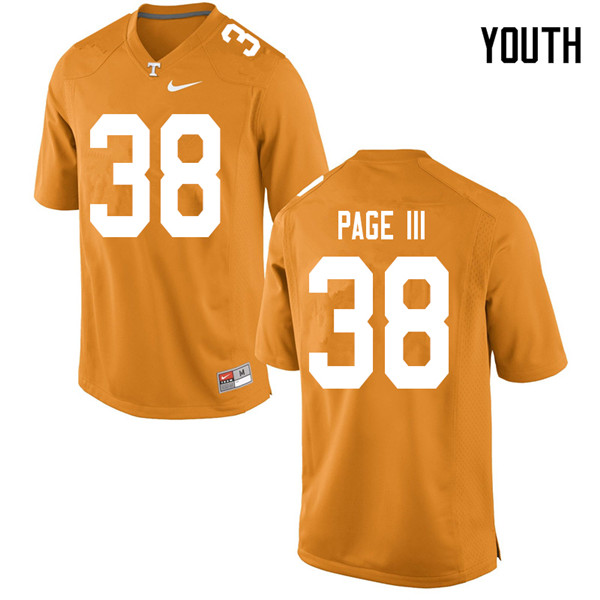 Youth #38 Solon Page III Tennessee Volunteers College Football Jerseys Sale-Orange