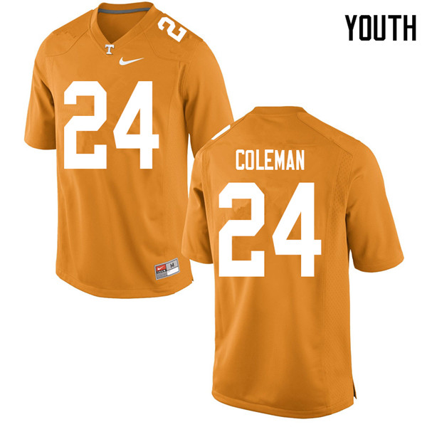 Youth #24 Trey Coleman Tennessee Volunteers College Football Jerseys Sale-Orange