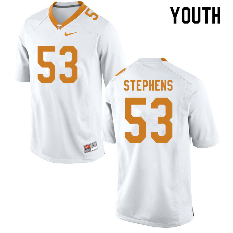 Youth #53 Dawson Stephens Tennessee Volunteers College Football Jerseys Sale-White