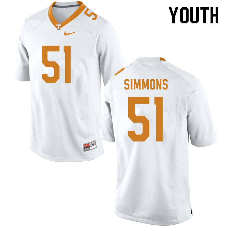 Youth #51 Elijah Simmons Tennessee Volunteers College Football Jerseys Sale-White